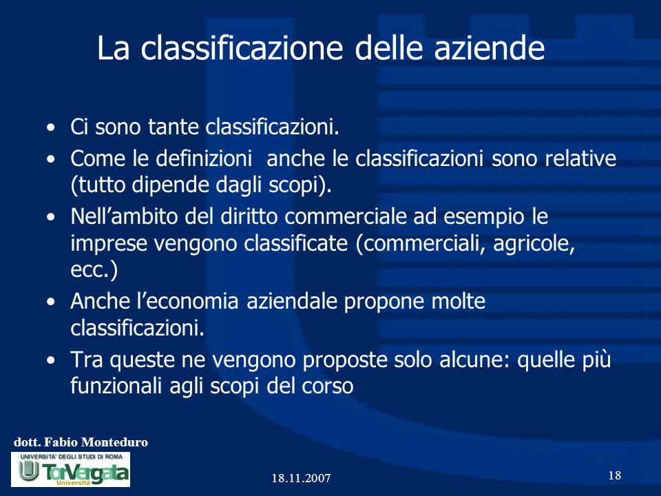 dott. Fabio Monteduro 18 18.11.2007 La classificazione delle aziende Ci sono tante classificazioni. Come le definizioni anche le classificazioni sono