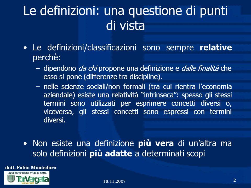 dott. Fabio Monteduro 2 18.11.2007 Le definizioni: una questione di punti di vista Le definizioni/classificazioni sono sempre relative perchè: –dipend