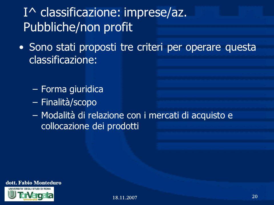 dott. Fabio Monteduro 20 18.11.2007 I^ classificazione: imprese/az. Pubbliche/non profit Sono stati proposti tre criteri per operare questa classifica