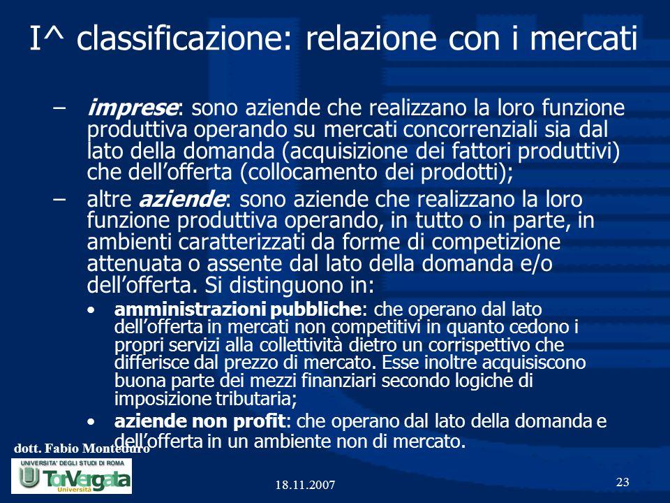 dott. Fabio Monteduro 23 18.11.2007 I^ classificazione: relazione con i mercati –imprese: sono aziende che realizzano la loro funzione produttiva oper