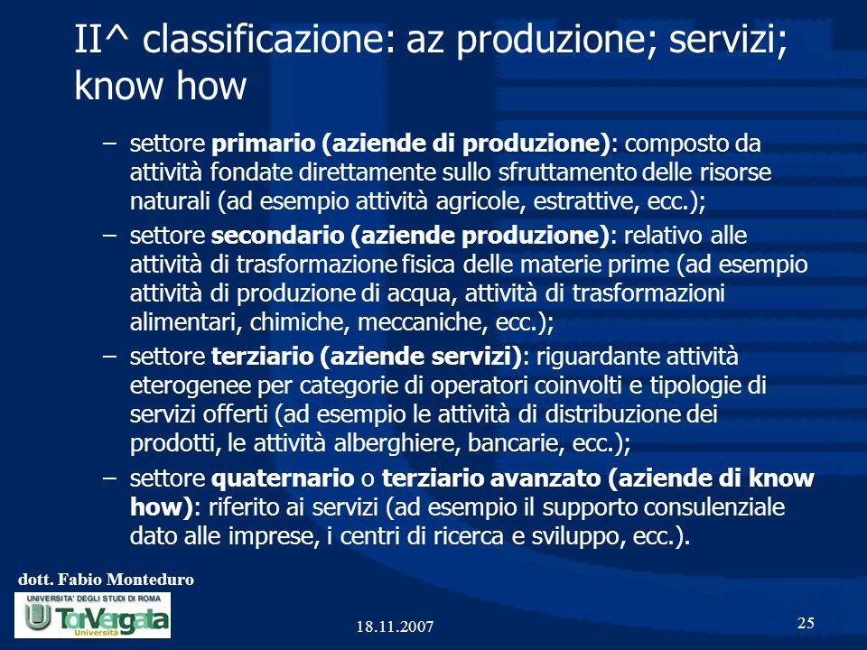 dott. Fabio Monteduro 25 18.11.2007 II^ classificazione: az produzione; servizi; know how –settore primario (aziende di produzione): composto da attiv
