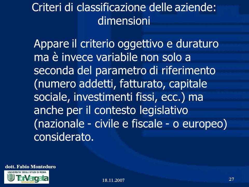 dott. Fabio Monteduro 27 18.11.2007 Criteri di classificazione delle aziende: dimensioni Appare il criterio oggettivo e duraturo ma è invece variabile