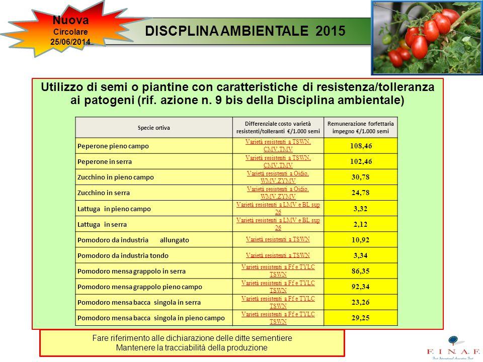 Utilizzo di semi o piantine con caratteristiche di resistenza/tolleranza ai patogeni (rif. azione n. 9 bis della Disciplina ambientale) DISCPLINA AMBI