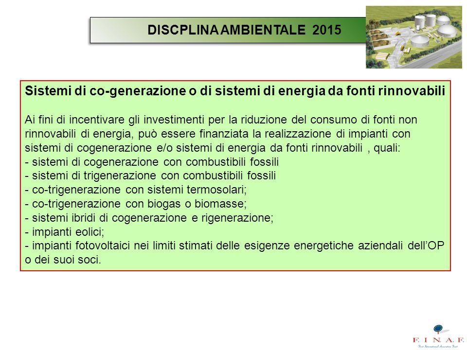 Sistemi di co-generazione o di sistemi di energia da fonti rinnovabili Ai fini di incentivare gli investimenti per la riduzione del consumo di fonti n