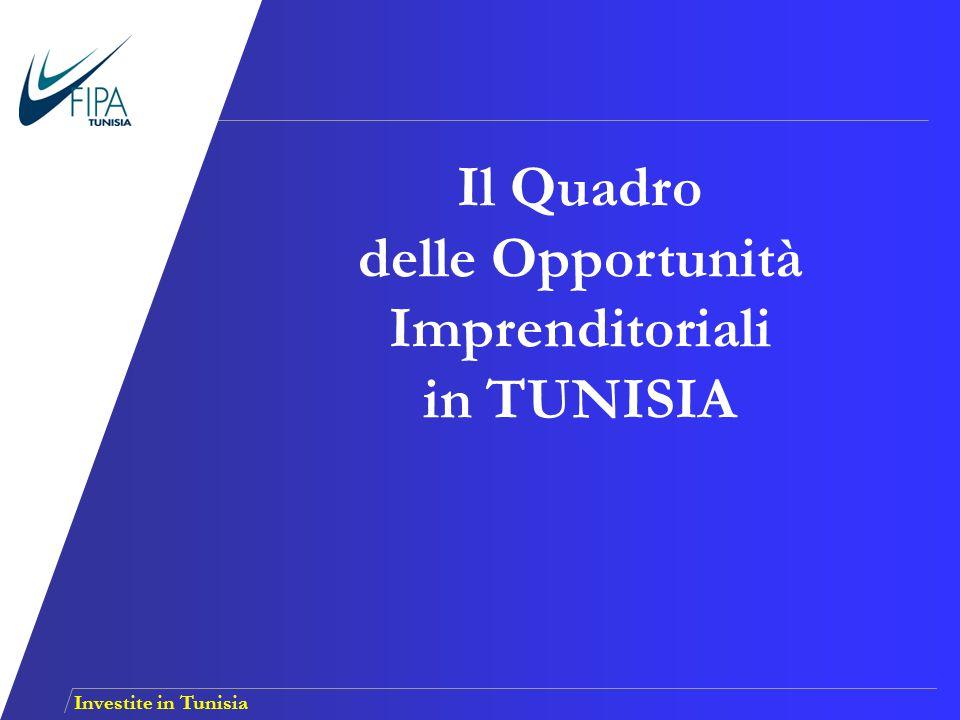Investite in Tunisia Competitività del sito Tunisia Gli investimenti Italiani in Tunisia SOMMARIO