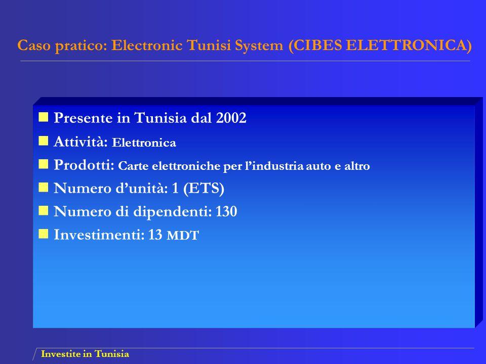 Investite in Tunisia Presente in Tunisia dal 2002 Attività: Elettronica Prodotti: Carte elettroniche per l'industria auto e altro Numero d'unità: 1 (E