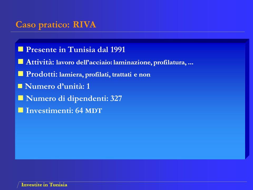Investite in Tunisia Presente in Tunisia dal 1991 Attività: lavoro dell'acciaio: laminazione, profilatura,... Prodotti: lamiera, profilati, trattati e
