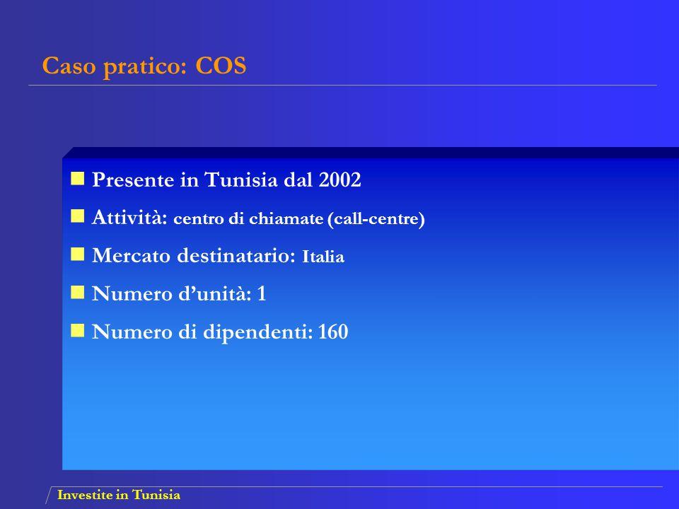 Investite in Tunisia Presente in Tunisia dal 2002 Attività: centro di chiamate (call-centre) Mercato destinatario: Italia Numero d'unità: 1 Numero di
