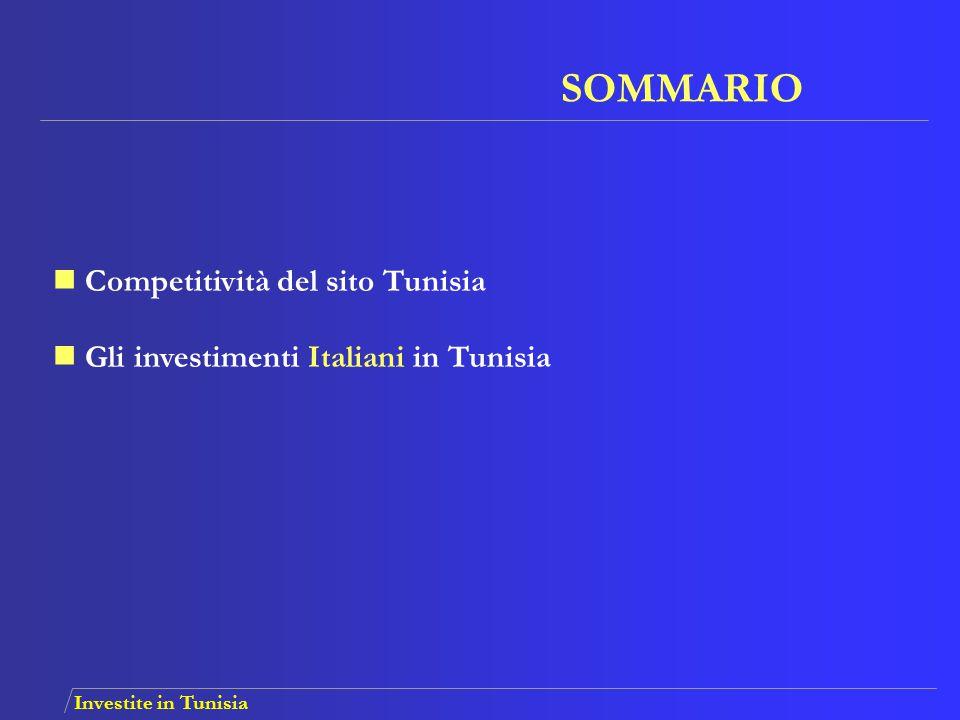 Investite in Tunisia Flusso medio degli investimenti italiani realizzati in Tunisia fra il 2004 e il 2006:  42 aziende all'anno  3200 nuovi impieghi all'anno  73 MDT investimenti Totale degli investimenti italiani in Tunisia:  606 aziende produttive  48 630 impieghi Principali settori:  Tessile/abbigliamento  Scarpe e tomaie  IMEE  Agro-alimentare Investimenti Italiani in Tunisia