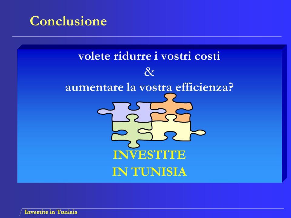 Investite in Tunisia volete ridurre i vostri costi & aumentare la vostra efficienza? INVESTITE IN TUNISIA Conclusione