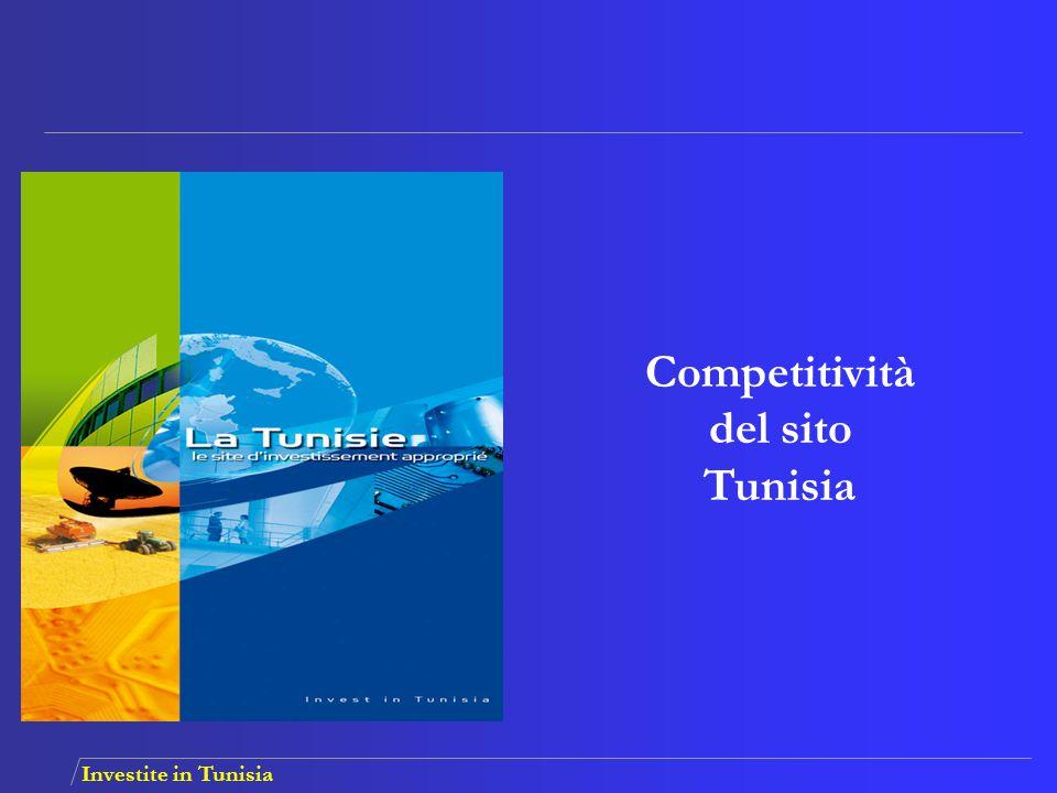 Investite in Tunisia ACCESSO AI MERCATI QUALIFICHE Unione Europea AELE Paesi arabi e africani Disponibilità di una manodopera qualificata e produttiva Grande capacità d'apprendimento Formazioni complementari continue e su richiesta Aumentare le parti del mercato Efficienza garantita Principali motivi per investire in Tunisia