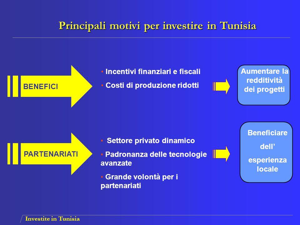 Investite in Tunisia PROSSIMITA' E REATTIVITA' QUADRO ISTITUZIONALE Termini di consegna brevi Trasporto marittimo regolare e rapido Procedure semplificate Strutture d'appoggio consolidate Aumentare la competitività dei prodotti Rapidità e efficacia Principali motivi per investire in Tunisia