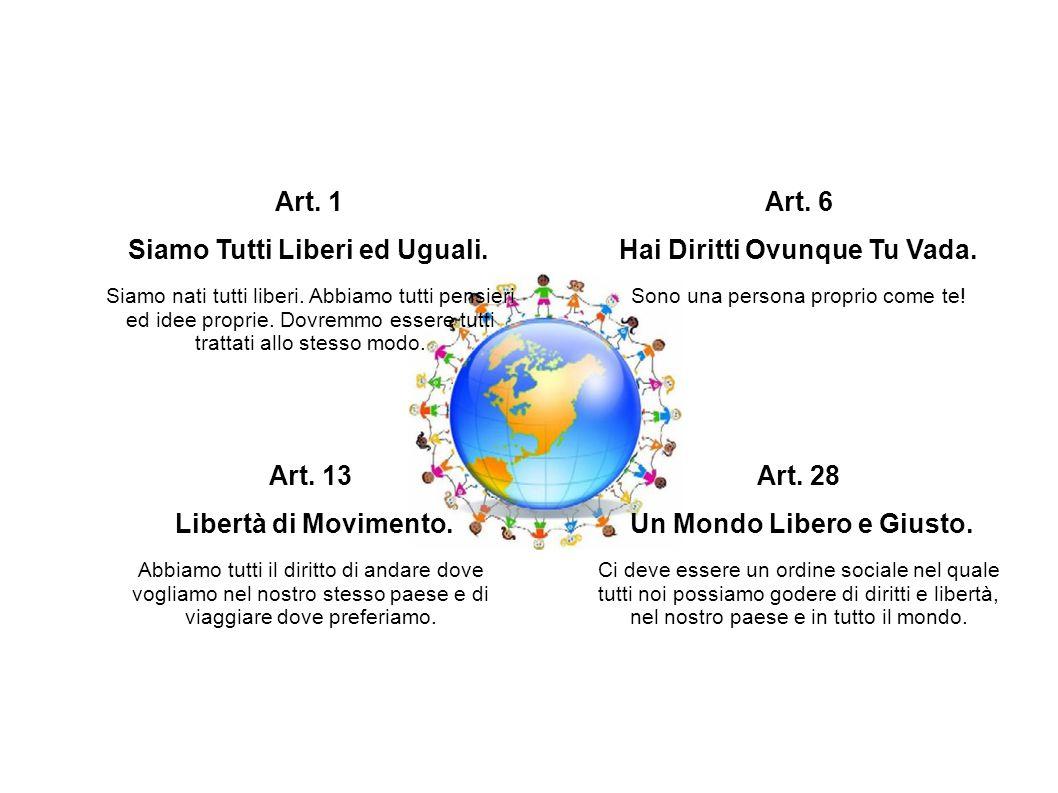 Art. 1 Siamo Tutti Liberi ed Uguali. Siamo nati tutti liberi. Abbiamo tutti pensieri ed idee proprie. Dovremmo essere tutti trattati allo stesso modo.
