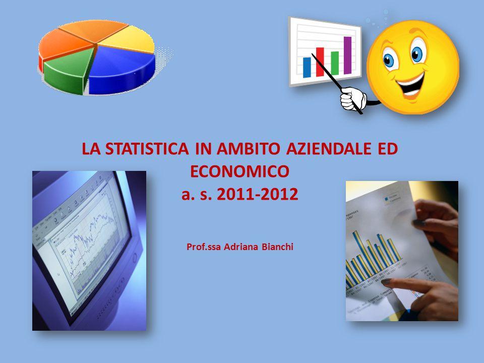 LA STATISTICA IN AMBITO AZIENDALE ED ECONOMICO a. s. 2011-2012 Prof.ssa Adriana Bianchi