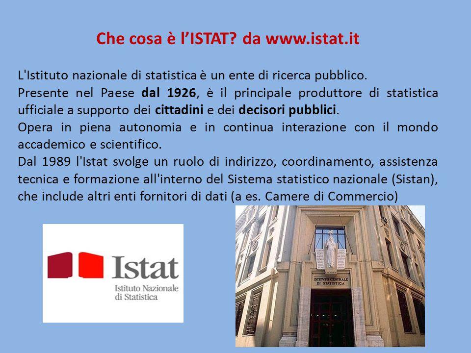 Che cosa è l'ISTAT? da www.istat.it L'Istituto nazionale di statistica è un ente di ricerca pubblico. Presente nel Paese dal 1926, è il principale pro