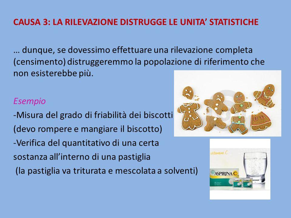 CAUSA 3: LA RILEVAZIONE DISTRUGGE LE UNITA' STATISTICHE … dunque, se dovessimo effettuare una rilevazione completa (censimento) distruggeremmo la popo