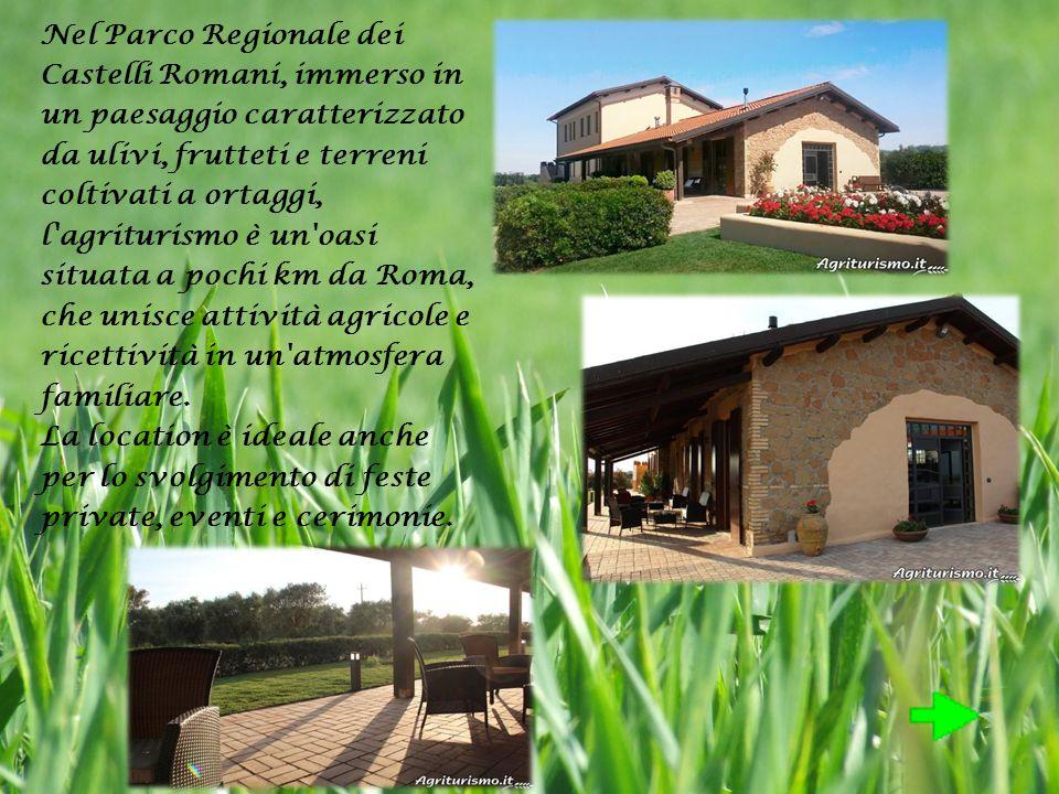 Nel Parco Regionale dei Castelli Romani, immerso in un paesaggio caratterizzato da ulivi, frutteti e terreni coltivati a ortaggi, l agriturismo è un oasi situata a pochi km da Roma, che unisce attività agricole e ricettività in un atmosfera familiare.