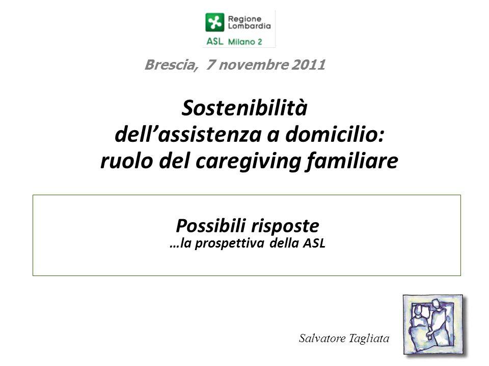 Sostenibilità dell'assistenza a domicilio: ruolo del caregiving familiare Possibili risposte …la prospettiva della ASL 1 Brescia, 7 novembre 2011 Salv