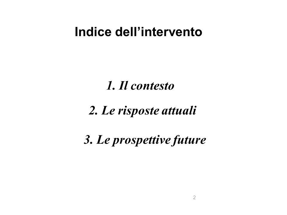 2. Le risposte attuali 2 1. Il contesto Indice dell'intervento 3. Le prospettive future