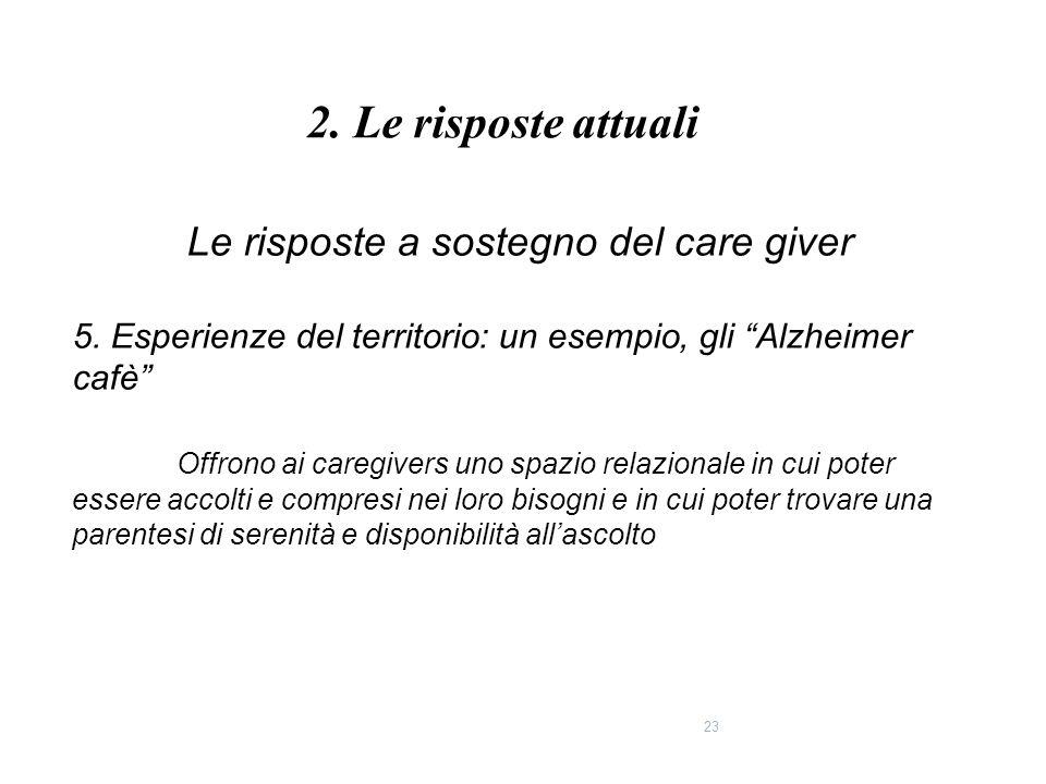 """23 Le risposte a sostegno del care giver 5. Esperienze del territorio: un esempio, gli """"Alzheimer cafè"""" Offrono ai caregivers uno spazio relazionale i"""