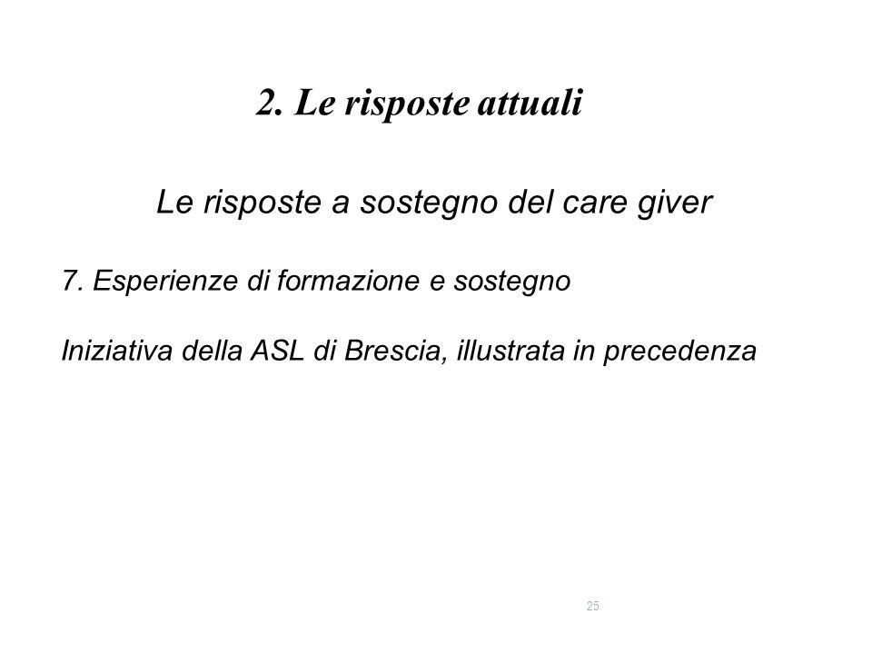 25 Le risposte a sostegno del care giver 7. Esperienze di formazione e sostegno Iniziativa della ASL di Brescia, illustrata in precedenza 2. Le rispos