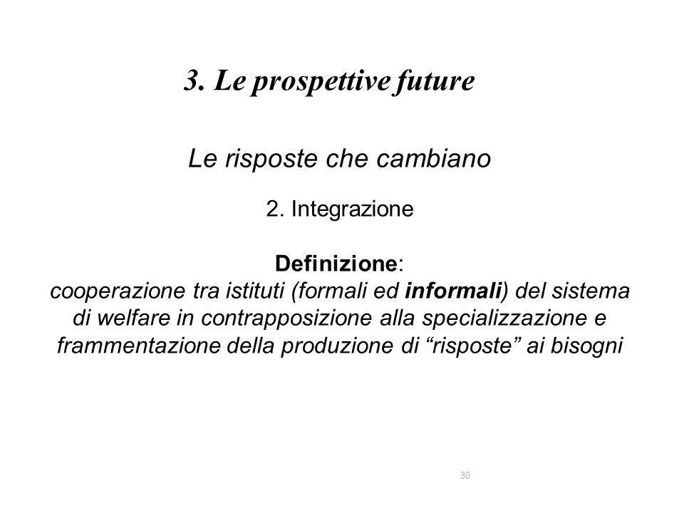 30 Le risposte che cambiano 2. Integrazione Definizione: cooperazione tra istituti (formali ed informali) del sistema di welfare in contrapposizione a