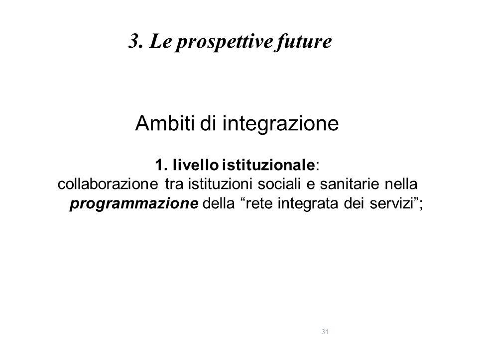 """31 Ambiti di integrazione 1.livello istituzionale: collaborazione tra istituzioni sociali e sanitarie nella programmazione della """"rete integrata dei s"""