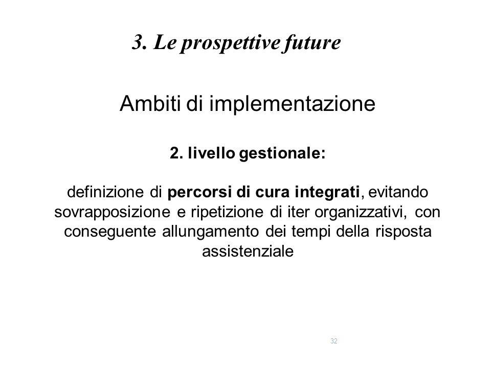 32 Ambiti di implementazione 2. livello gestionale: definizione di percorsi di cura integrati, evitando sovrapposizione e ripetizione di iter organizz