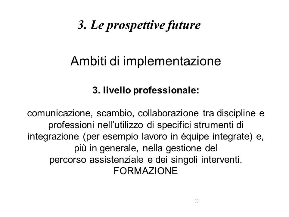 33 Ambiti di implementazione 3. livello professionale: comunicazione, scambio, collaborazione tra discipline e professioni nell'utilizzo di specifici