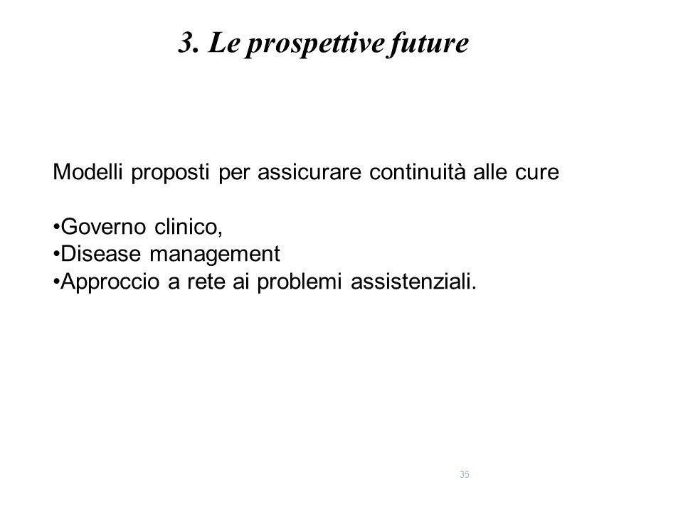 35 Modelli proposti per assicurare continuità alle cure Governo clinico, Disease management Approccio a rete ai problemi assistenziali. 3. Le prospett