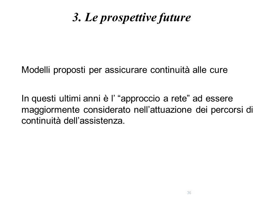 """36 Modelli proposti per assicurare continuità alle cure In questi ultimi anni è l' """"approccio a rete"""" ad essere maggiormente considerato nell'attuazio"""