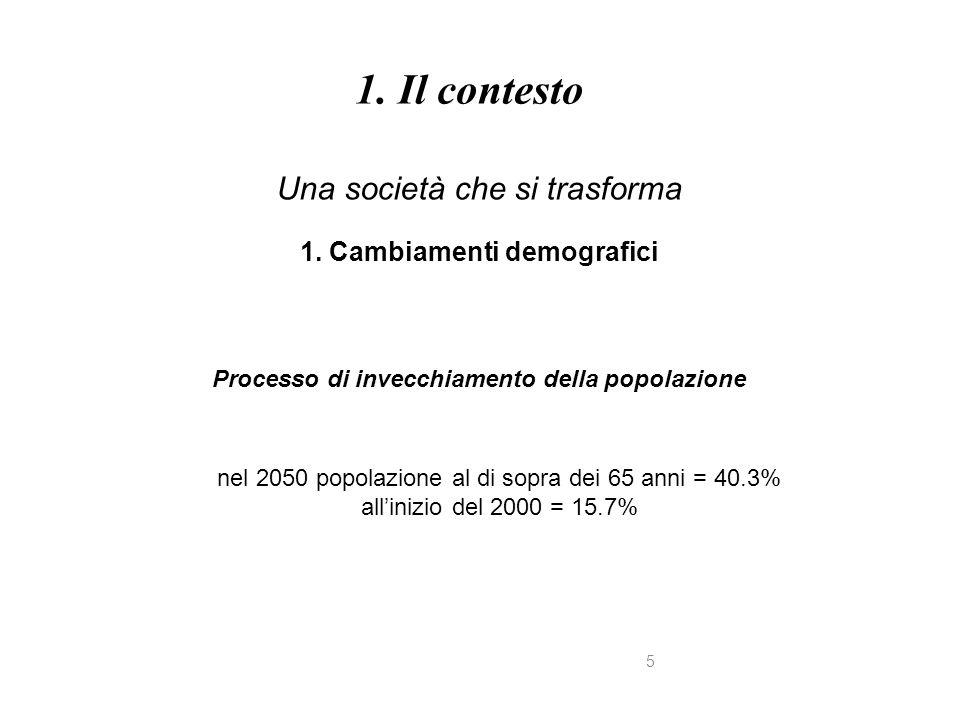 5 Una società che si trasforma 1. Cambiamenti demografici Processo di invecchiamento della popolazione 1. Il contesto nel 2050 popolazione al di sopra