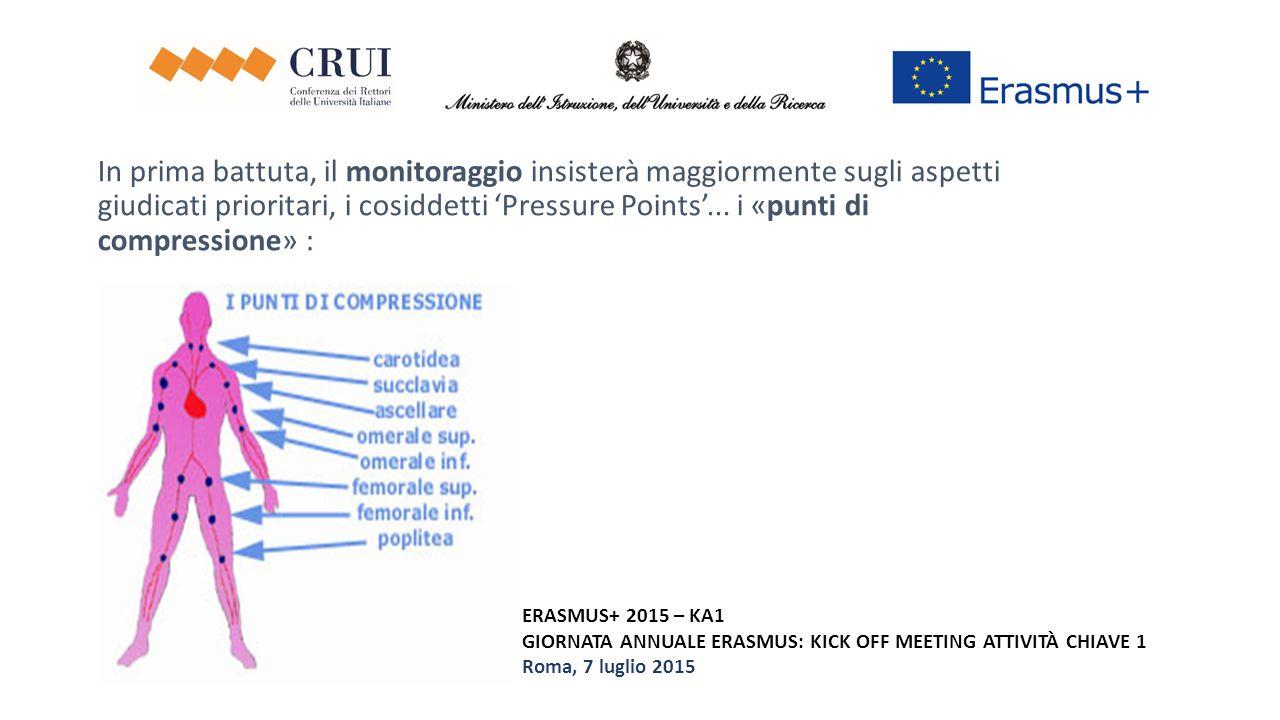 ERASMUS+ 2015 – KA1 GIORNATA ANNUALE ERASMUS: KICK OFF MEETING ATTIVITÀ CHIAVE 1 Roma, 7 luglio 2015 In prima battuta, il monitoraggio insisterà maggi
