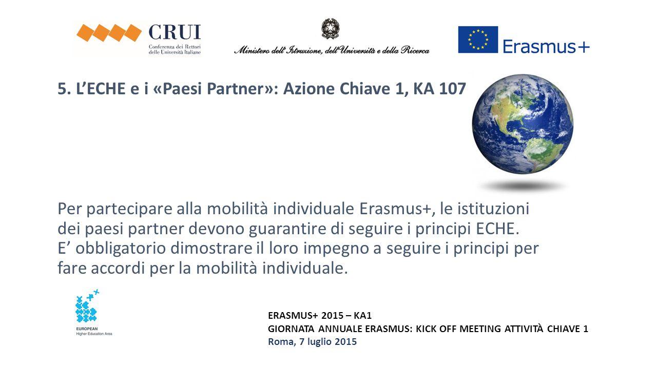 ERASMUS+ 2015 – KA1 GIORNATA ANNUALE ERASMUS: KICK OFF MEETING ATTIVITÀ CHIAVE 1 Roma, 7 luglio 2015 5. L'ECHE e i «Paesi Partner»: Azione Chiave 1, K