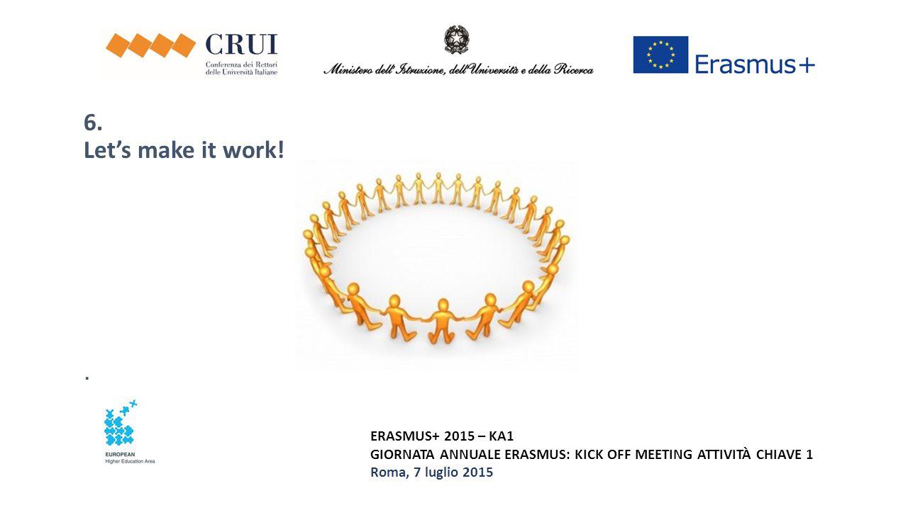 ERASMUS+ 2015 – KA1 GIORNATA ANNUALE ERASMUS: KICK OFF MEETING ATTIVITÀ CHIAVE 1 Roma, 7 luglio 2015 6. Let's make it work!.