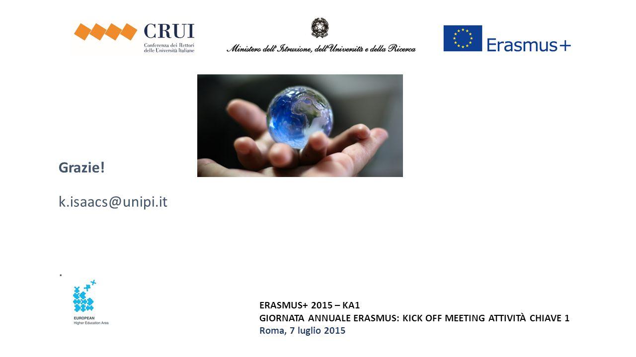 ERASMUS+ 2015 – KA1 GIORNATA ANNUALE ERASMUS: KICK OFF MEETING ATTIVITÀ CHIAVE 1 Roma, 7 luglio 2015 Grazie! k.isaacs@unipi.it.