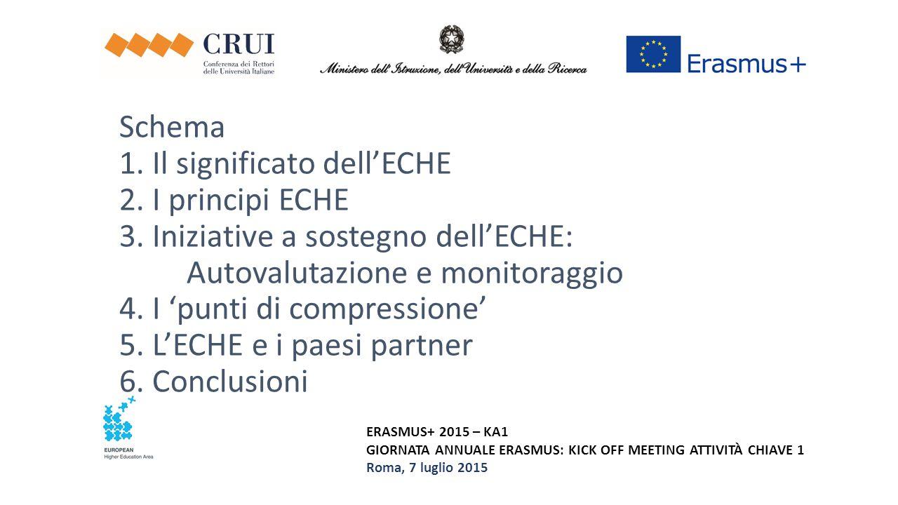 ERASMUS+ 2015 – KA1 GIORNATA ANNUALE ERASMUS: KICK OFF MEETING ATTIVITÀ CHIAVE 1 Roma, 7 luglio 2015 Schema 1. Il significato dell'ECHE 2. I principi