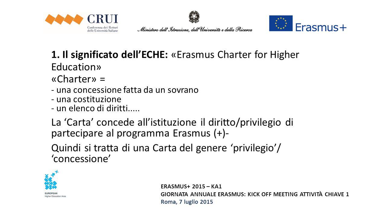 ERASMUS+ 2015 – KA1 GIORNATA ANNUALE ERASMUS: KICK OFF MEETING ATTIVITÀ CHIAVE 1 Roma, 7 luglio 2015 Per ottenere l'ECHE, l'istituzione di istruzione superiore deve non solo farne richiesta, e dichiarare di aderire ai principi contenuti nell'ECHE...