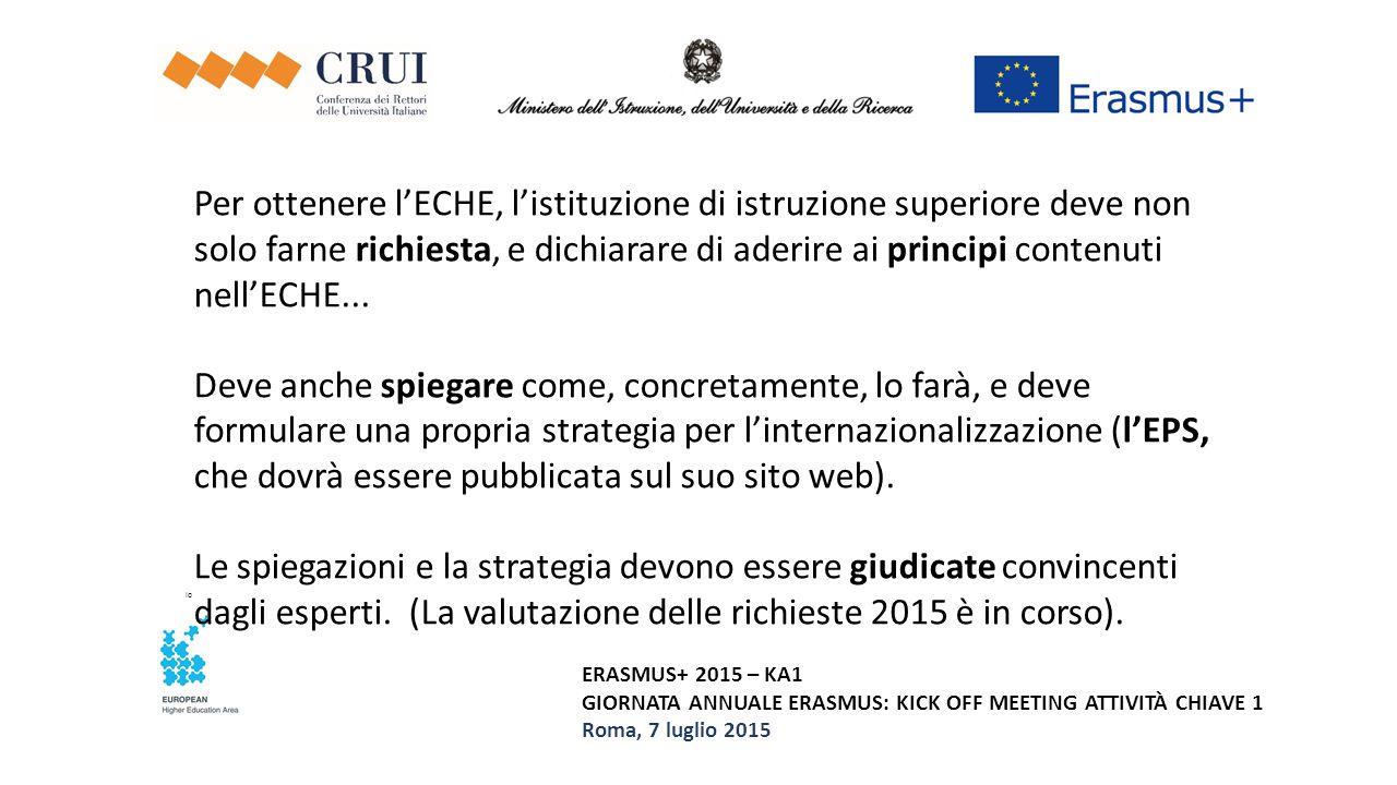 ERASMUS+ 2015 – KA1 GIORNATA ANNUALE ERASMUS: KICK OFF MEETING ATTIVITÀ CHIAVE 1 Roma, 7 luglio 2015 Per ottenere l'ECHE, l'istituzione di istruzione