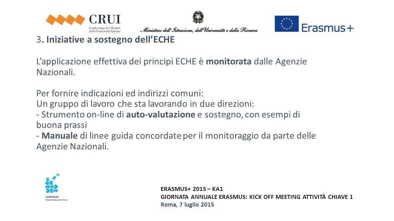 ERASMUS+ 2015 – KA1 GIORNATA ANNUALE ERASMUS: KICK OFF MEETING ATTIVITÀ CHIAVE 1 Roma, 7 luglio 2015 3. Iniziative a sostegno dell'ECHE L'applicazione