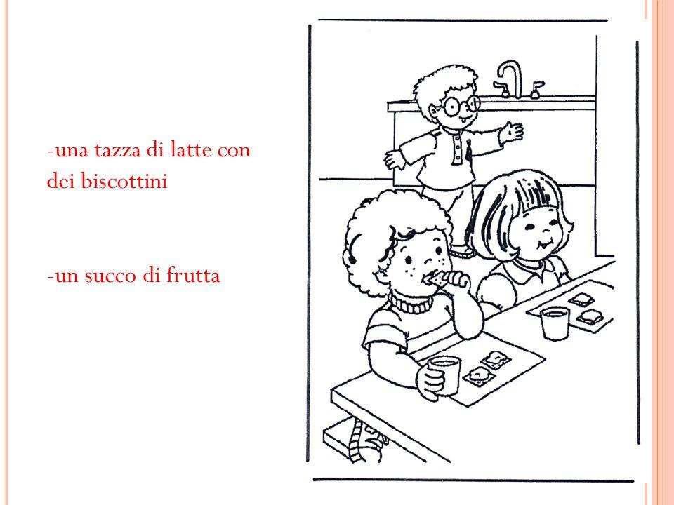 -una tazza di latte con dei biscottini -un succo di frutta