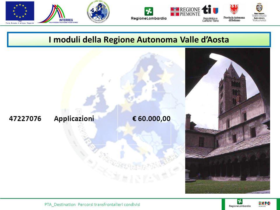 FESR Fondo Europeo di Sviluppo Regionale PTA_Destination Percorsi transfrontalieri condivisi I moduli della Regione Autonoma Valle d'Aosta 47227076Applicazioni€ 60.000,00