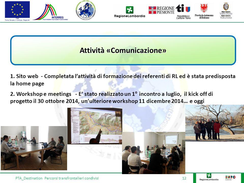 FESR Fondo Europeo di Sviluppo Regionale PTA_Destination Percorsi transfrontalieri condivisi 12 Attività «Comunicazione» 1.