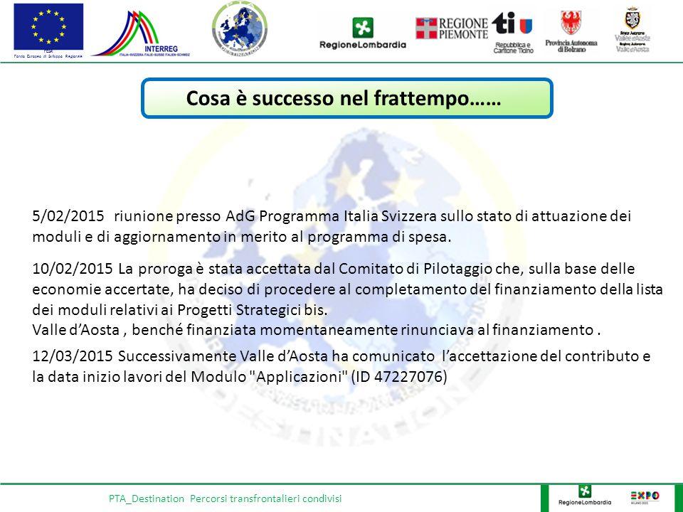 FESR Fondo Europeo di Sviluppo Regionale PTA_Destination Percorsi transfrontalieri condivisi 5/02/2015 riunione presso AdG Programma Italia Svizzera sullo stato di attuazione dei moduli e di aggiornamento in merito al programma di spesa.