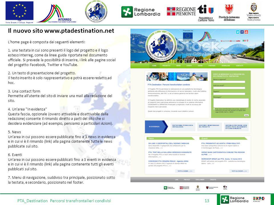FESR Fondo Europeo di Sviluppo Regionale PTA_Destination Percorsi transfrontalieri condivisi 13 Il nuovo sito www.ptadestination.net L home page è composta dai seguenti elementi: 1.