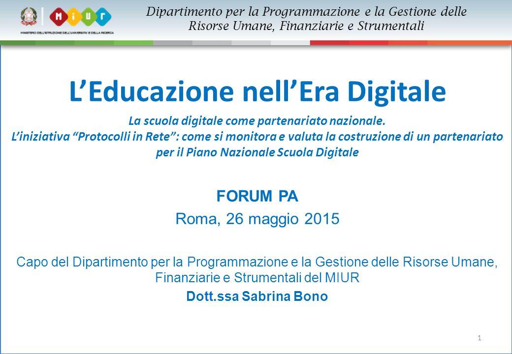 """1 L'Educazione nell'Era Digitale La scuola digitale come partenariato nazionale. L'iniziativa """"Protocolli in Rete"""": come si monitora e valuta la costr"""