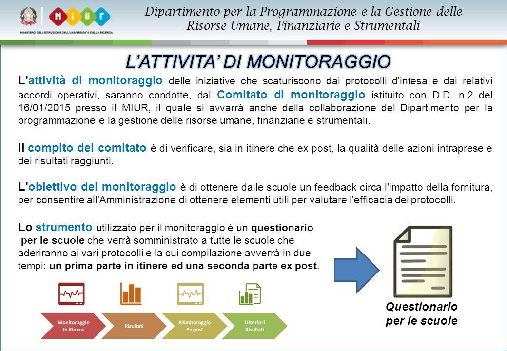 Dipartimento per la Programmazione e la Gestione delle Risorse Umane, Finanziarie e Strumentali L'attività di monitoraggio delle iniziative che scatur