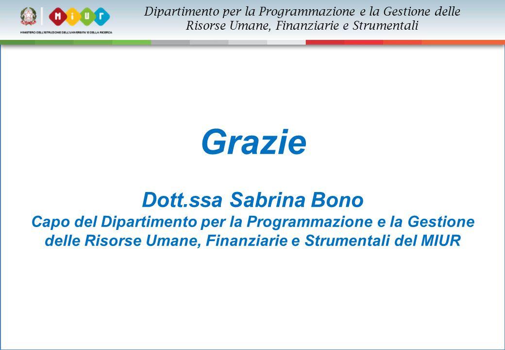 Dipartimento per la Programmazione e la Gestione delle Risorse Umane, Finanziarie e Strumentali Grazie Dott.ssa Sabrina Bono Capo del Dipartimento per