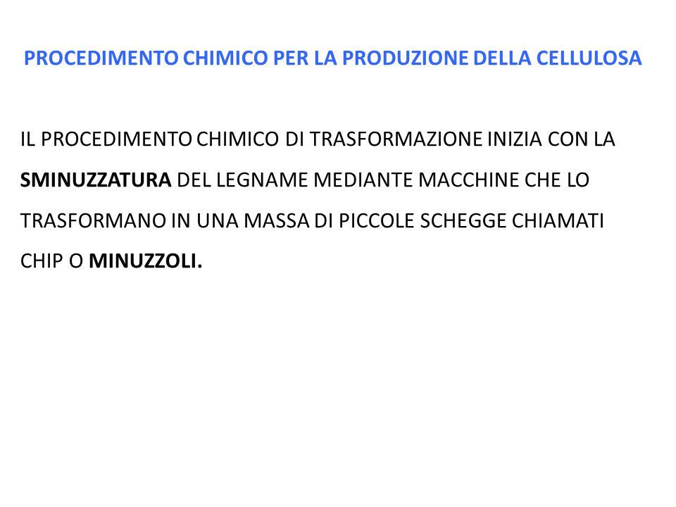 PROCEDIMENTO CHIMICO PER LA PRODUZIONE DELLA CELLULOSA IL PROCEDIMENTO CHIMICO DI TRASFORMAZIONE INIZIA CON LA SMINUZZATURA DEL LEGNAME MEDIANTE MACCH
