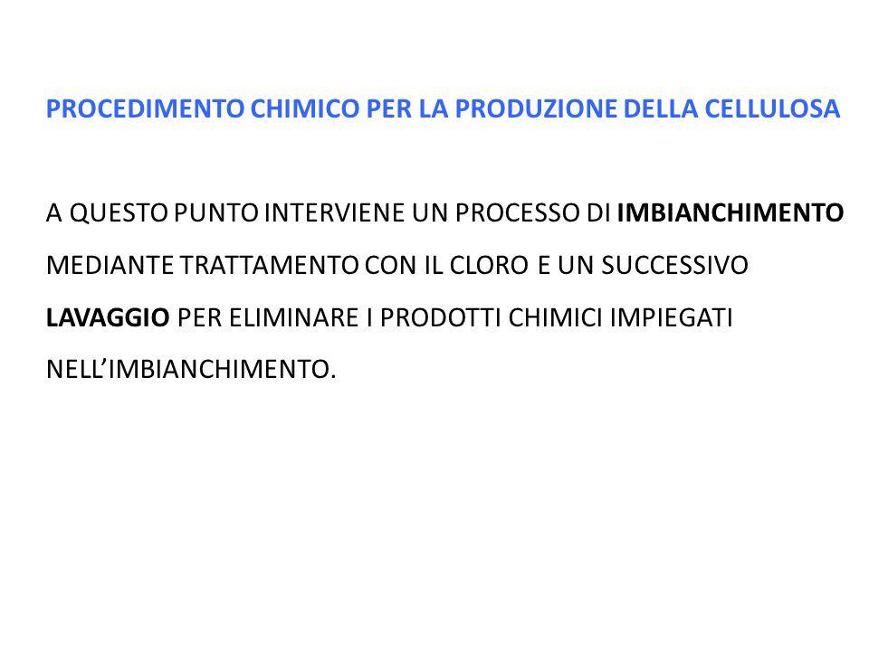PROCEDIMENTO CHIMICO PER LA PRODUZIONE DELLA CELLULOSA A QUESTO PUNTO INTERVIENE UN PROCESSO DI IMBIANCHIMENTO MEDIANTE TRATTAMENTO CON IL CLORO E UN